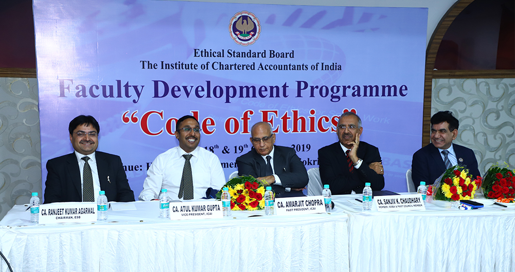<span>Ethical Standards Board </span>Recently conducted the <span>Faculty Development Program</span> on <dfn> Code of Ethics</dfn> <br> at New Delhi on 18th to 19th October, 2019.